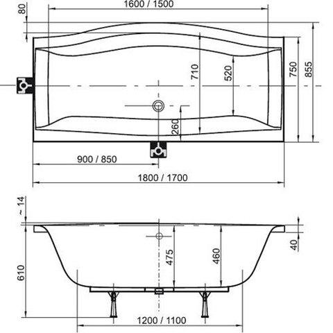 Ванна акриловая Ravak Magnolia 180x75 C601000000 схема