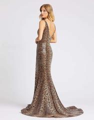 Длинное платье в пол в леопардовом цвете Mac Duggal 6739
