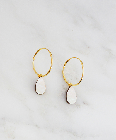 Серьги Raindrop Hoops Mother of Pearl