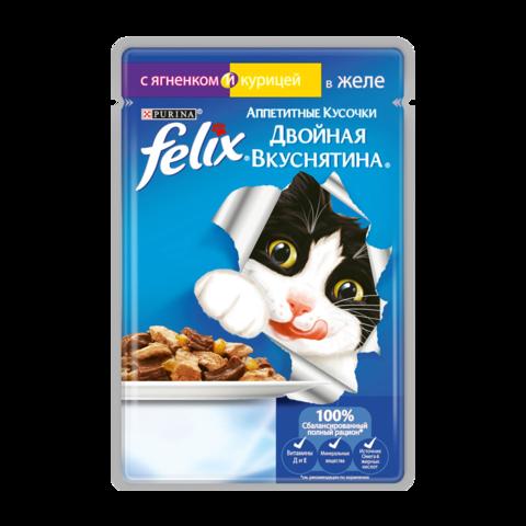Felix Консервы для кошек Двойная вкуснятина Аппетитные кусочки с ягненком и курицей в желе