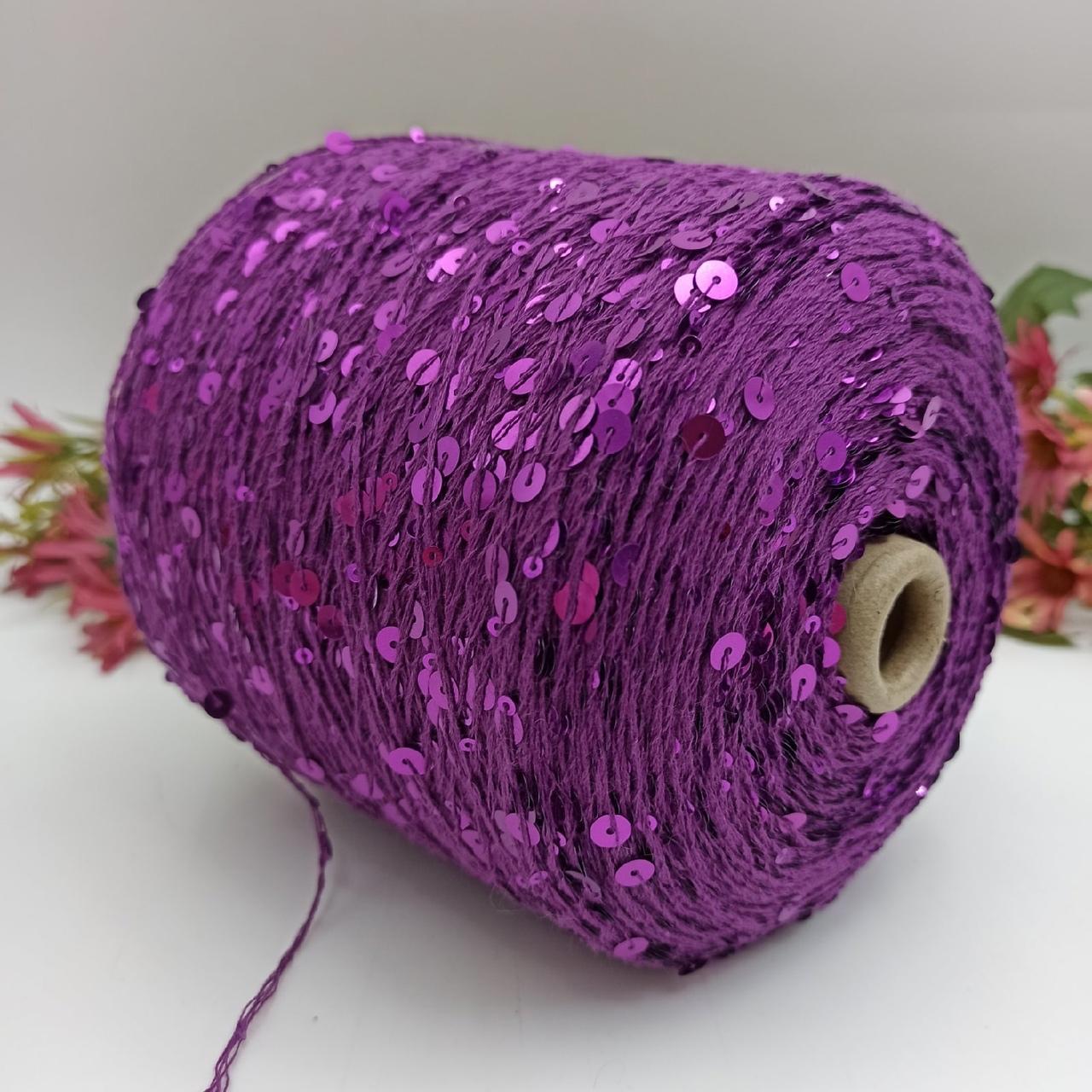 Королевские пайетки на 100% хлопке фиолетовый