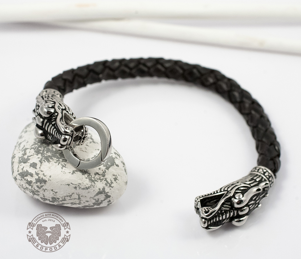 BL354 Крупный мужской браслет с драконами из кожи и стали (19 см) фото 06