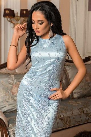 Длинное вечернее платье расшитое бисером и блестками, голубое 3