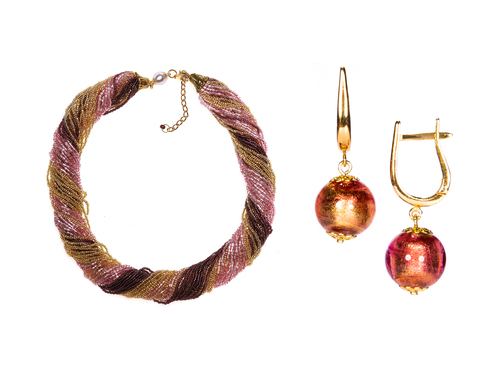 Комплект украшений золотисто-фиолетовый (серьги-бусины, ожерелье из бисера 48 нитей)