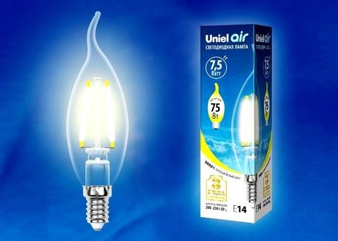 Uniel Лампа LED-CW35-7,5W/WW/E14/CL Air (свеча на ветру теплый свет)