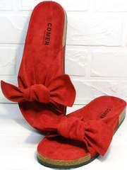 Красные женские босоножки удобные шлепанцы Comer SAR-15 Red.