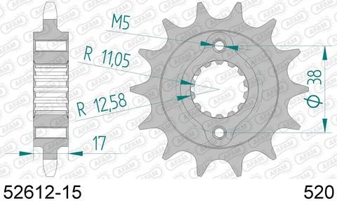52612-15 звезда передняя DUCATI 900 IE Monster (ведущая) стальная, 520, AFAM