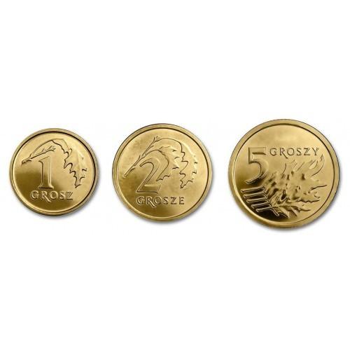 Набор 3 монеты 2017 г. 1, 2, 5 грошей. Новый тип. Польша. UNC