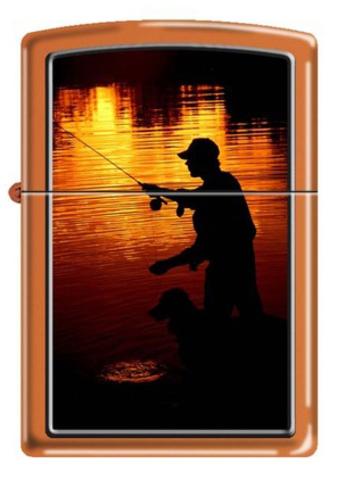 Зажигалка Zippo ночная рыбалка, латунь/сталь с покрытием Orange Matte, оранжевая, 36x12x56 мм