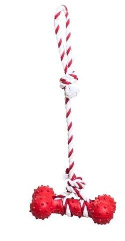 YUGI с резиновой костью красная веревочная 37см