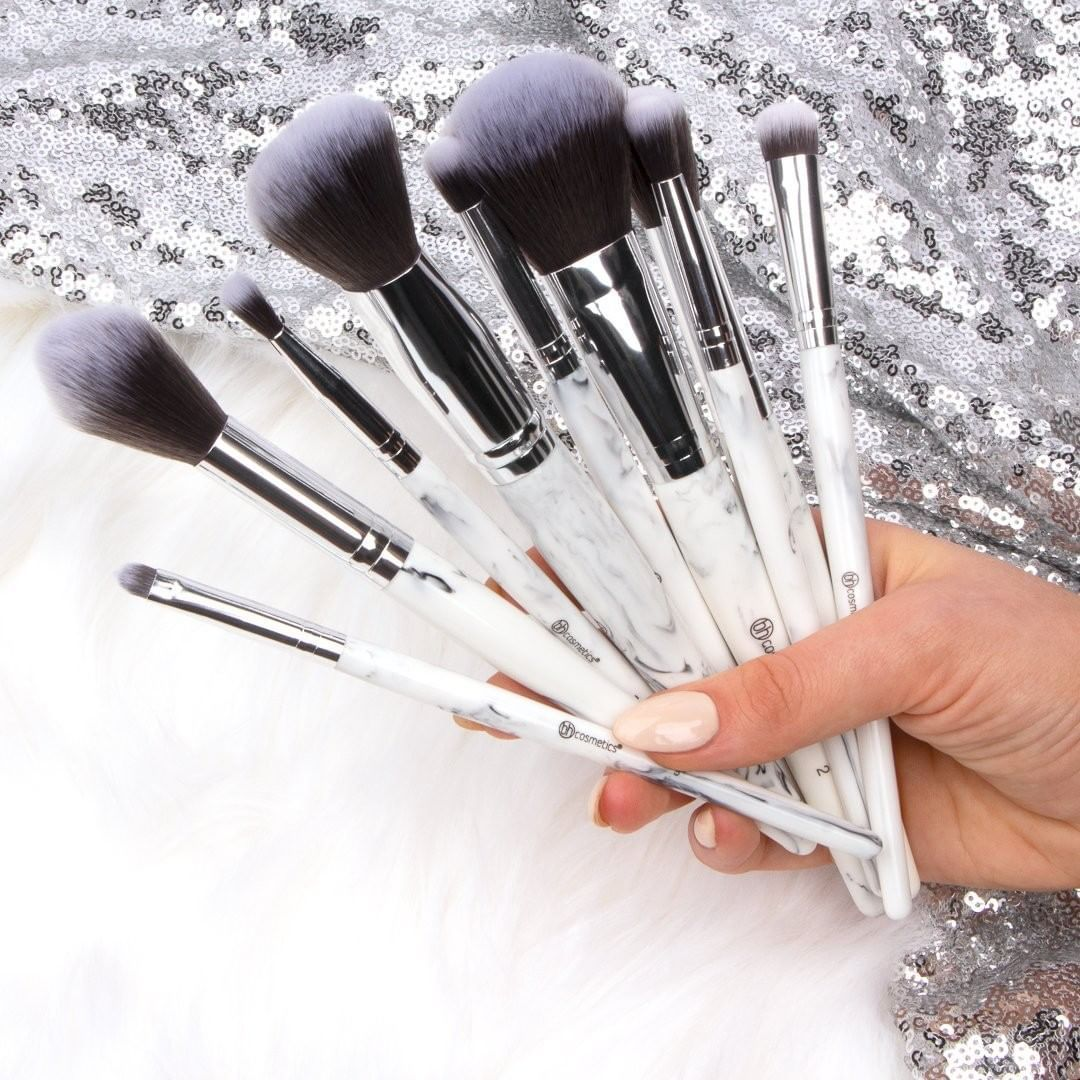 BH Cosmetics White Marble 9 piece brush set