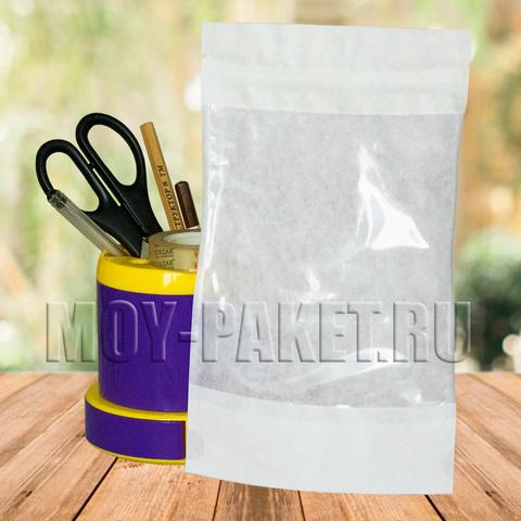 Крафт пакет дой-пак с замком зип-лок и большим окошком 135x225 мм белый
