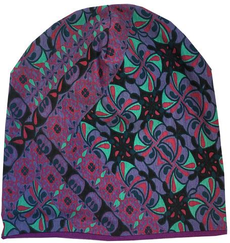 Женская шапочка - бини с фиолетовым узором