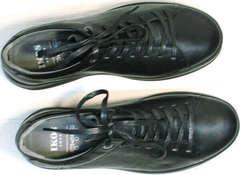 Кожаные черные кроссовки для ходьбы весна осень Ikoc 1725-1 Black.