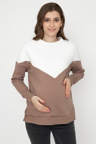 Утепленный свитшот для беременных и кормящих 12169 мокко
