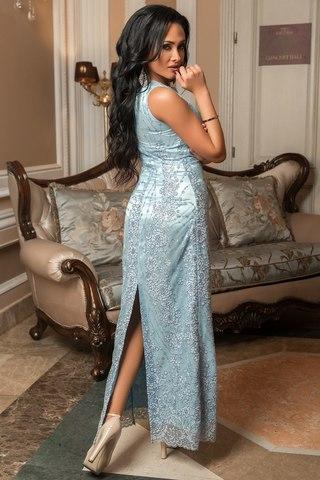 Длинное вечернее платье расшитое бисером и блестками, голубое 4