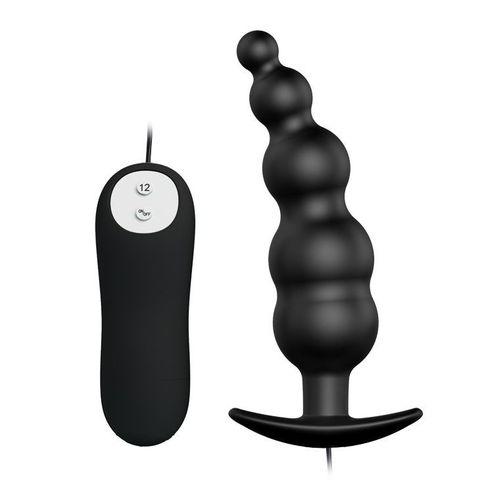 Черная анальная виброцепочка с пультом управления - 11,8 см.