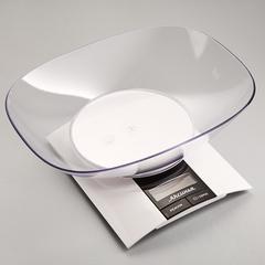 Весы электронные настольные 3 кг АКСИНЬЯ КС-6505 с чашей, белые