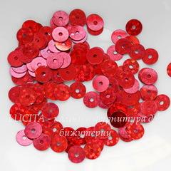 Пайетки красные с голограммой, 6 мм, 10 грамм