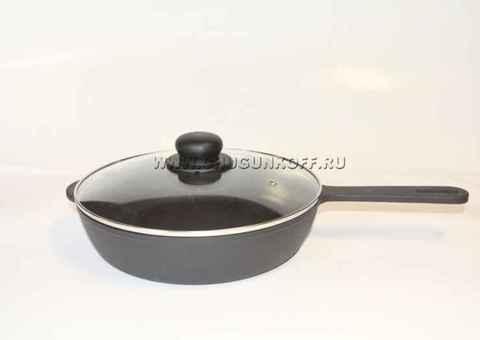 Сковорода чугунная 260х60 с литой ручкой (ЭКОЛИТ) со стеклянной крышкой