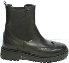 Кожаные ботинки женские весна Jina 7113 Leather Black