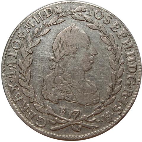20 крейцеров. Иосиф II. Австрия. Серебро. 1776 год. VF+