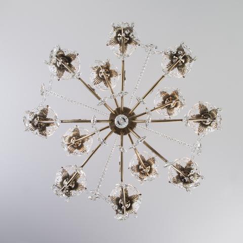 Большая подвесная люстра с хрусталем 10103/12 античная бронза/прозрачный хрусталь Strotskis