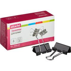 Зажимы для бумаг Attache 32 мм черные (12 штук в упаковке)