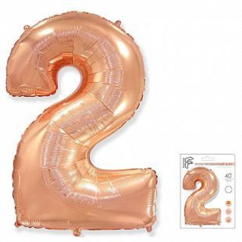Цифра два - розовое золото