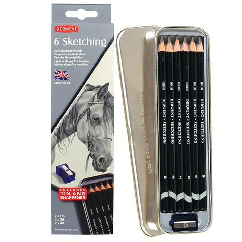 Набор чернографитных карандашей SKETCHING 6шт с точилкой в метал.упаковке