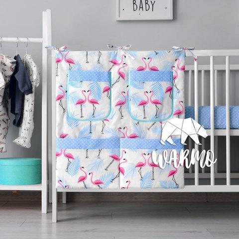 органайзер для ліжечка з малюнком з голубими фламінго фото