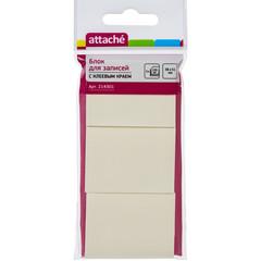 Стикеры Attache 38x51 мм пастельные желтые (3 блока по 100 листов)