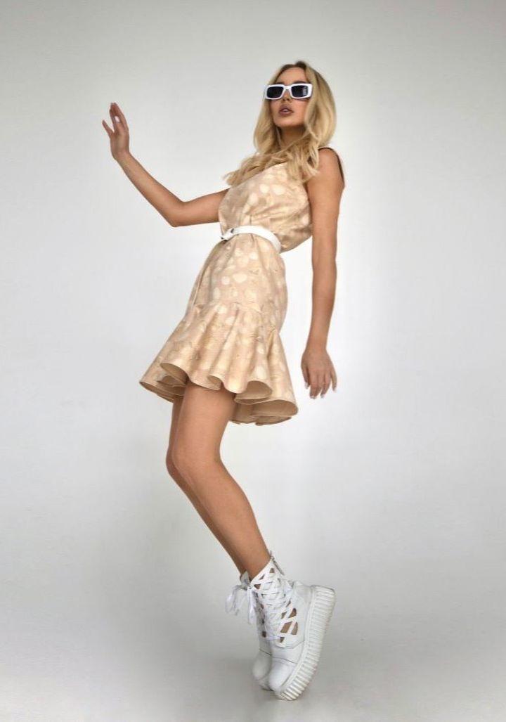 Платье джинсовое с принтом Ракушки