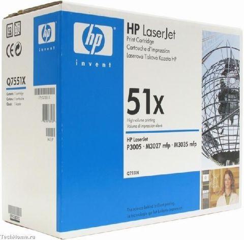 Картридж HP Q7551X для принтеров Hewlett Packard LaserJet M3027/ M3027x/ M3035/ M3035xs/ P3005/ P3005d/ P3005dn/ P3005n/ P3005x (черный, 13000 стр.)