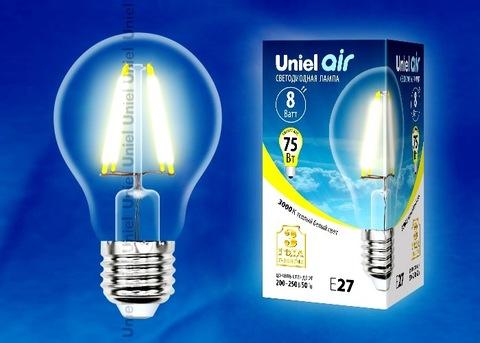 Uniel Лампа LED-A60-8W/WW/E27/CL Air (теплый свет)