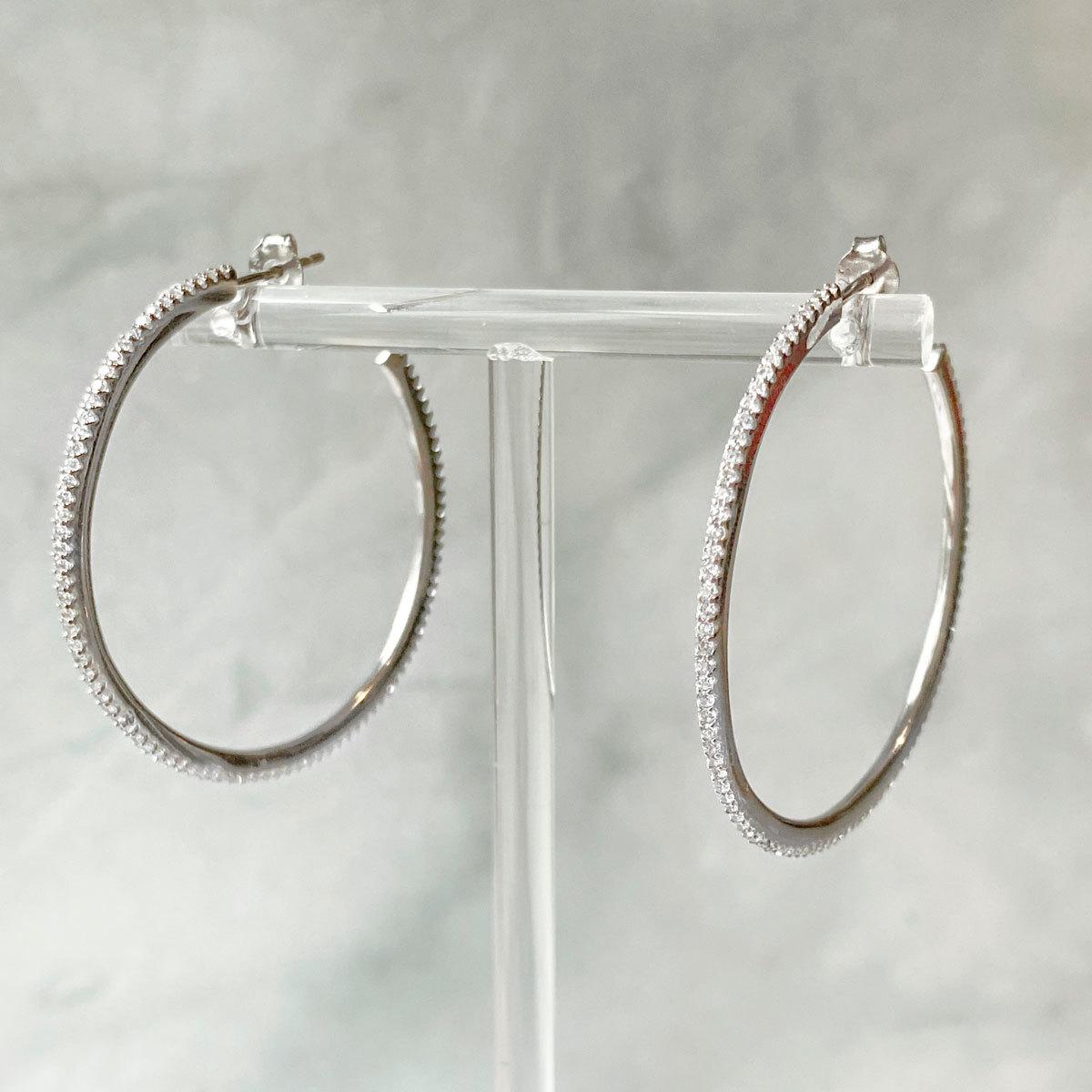 Серьги-конго с цирконной дорожкой 4,5см (серебро 925)