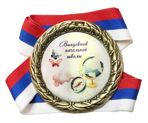 Медаль выпускник начальной школы индивидуальная с номером школы и именем (глобус на книгах)