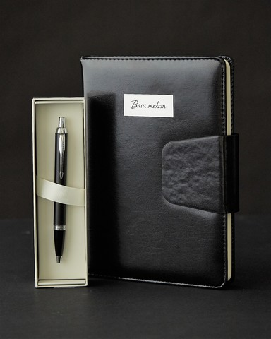 Набор с гравировкой: Ежедневник и ручка шариковая Parker IM Mat Black CT123