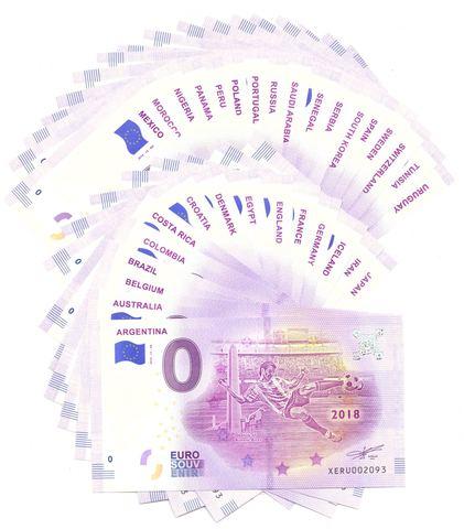 Полный набор из 32 сувенирных банкнот 0 евро 2018. ЧМ по футболу - 32 страны UNC