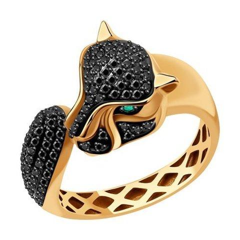 3010580 - Кольцо Пантера из золота с черными бриллиантами и изумрудами