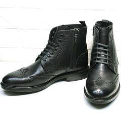 Высокие зимние ботинки мужские кожаные с мехом Luciano Bellini BC3801 L-Black.