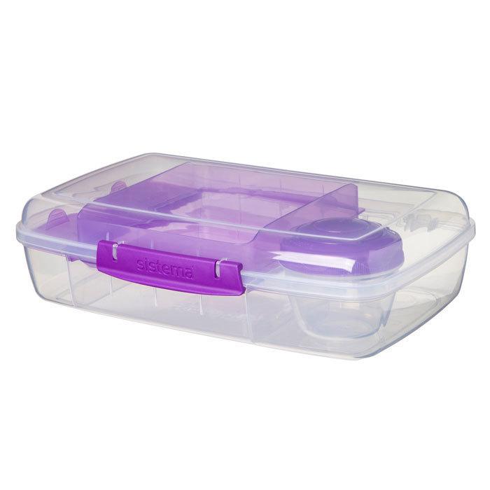 """Ланч-бокс с баночкой Sistema """"Bento TO GO"""", многосекционный, 1,76 л, цвет Фиолетовый"""