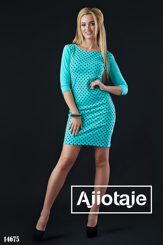 Весеннее платье мятное цвета в принт полька