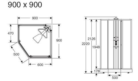 Душевая кабина профиль серебристый, стекло тонированное 90x90 IDO Showerama 8-5 схема