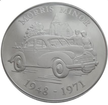 5 фунтов 2009 год. Моррис Минор. Классические британские автомобили. Олдерни. Серебро