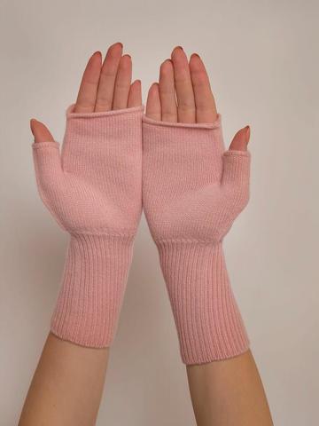 Женские митенки светло-розового цвета из 100% кашемира - фото 3
