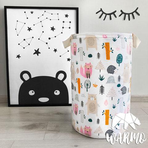 кошик для іграшок з малюнком з лісом і звірями фото