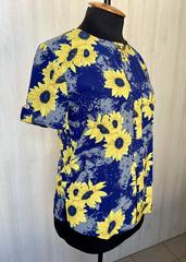 Соняшник. Яскрава повсякденна жіноча блуза. Синій