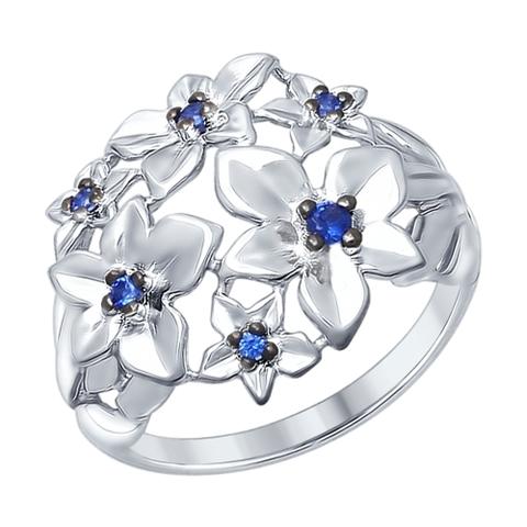 94012340 - Кольцо из серебра с синими фианитами