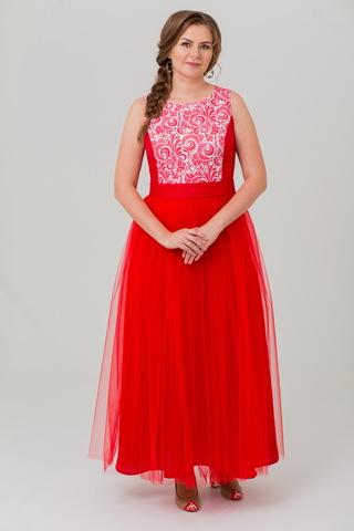Платье вечернее русское народное с фатином Аленький цветочек